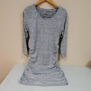 Liz Lang Heather Grey Rouched Maternity Dress